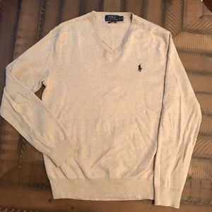 Mens Polo V Neck Sweater Size Small